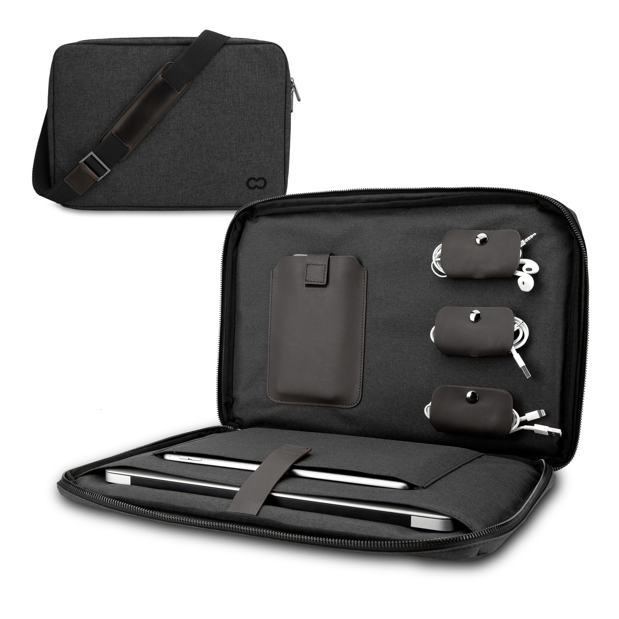MacBook Pro / Air CaseCrown Campus Commuter Sleeve / Messenger w/ Cable Organizers