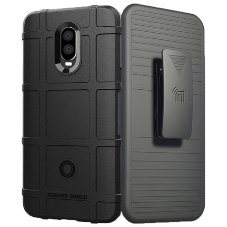 OnePlus 6T Case with Clip, Nakedcellphone Special Ops Tactical Armor Rugged  Shield Cover [Anti-Fingerprint, Matte Textured] + Belt Hip Holster for