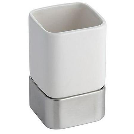 InterDesign Gia Tumbler Cup for Bathroom Vanity Countertops, White/Brushed