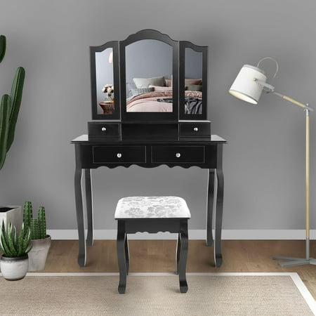 Jaxpety Black Tri Folding Mirror Bathroom Vanity Makeup Dressing Table Stool Set Home Furniture With 4 Drawers ()