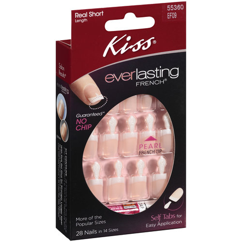 Kiss Everlasting French Nails Real Short Length Salon Square Shape Pearl French Tip,28 Ct