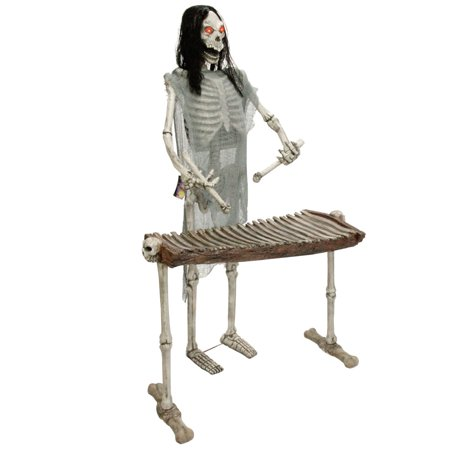 Halloween Haunters Life-Size Standing Skeleton Zombie Man Playing Xylophone Musician Rock Band Prop Decoration for $<!---->