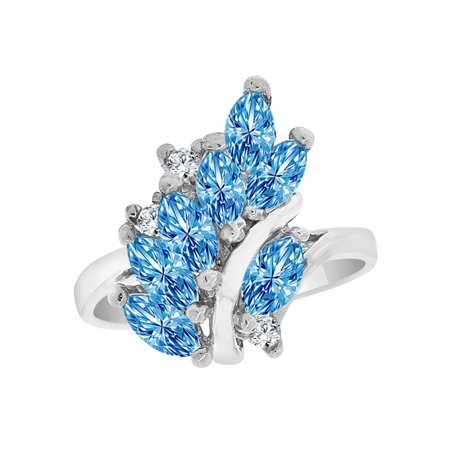 Sterling Silver White Rhodium, Classic Leaf Cluster Ring Dec Created CZ Crystals Birthstones