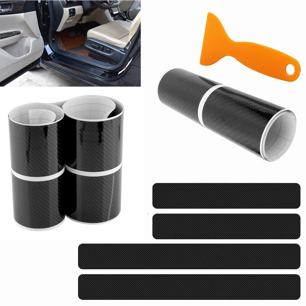 4pcs 5D Carbon Fiber Look Car Door Plate Sill Scuff Cover Sticker Anti Scratch