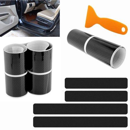 4PCS Accessories 5D Carbon Fiber Black Car door Plate Door Sill Scuff Plate Cars Sticker Anti-kick Scratch Auto Car-styling