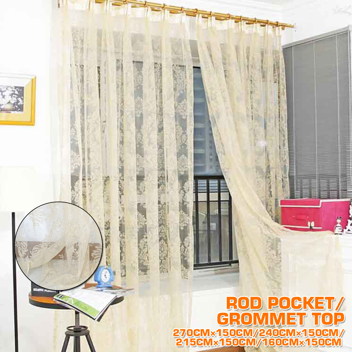Lifegroceryllc Rod Pocket Floral Lace Sheer Curtain Panel 2 Pack Sheer Window Treatment Rod Pocket Curtain Panels For Bedroom And Living Room 59 X 85 Inches Long Walmart Com Walmart Com