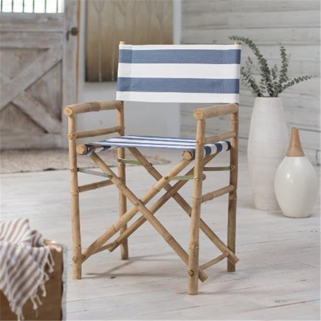 ZEW CH-007-0-22-Bamboo Director Chair - Navy&White Stripes- SET 2