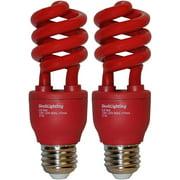 SleekLighting 13 Watt Red Spiral Bug CFL Light Bulb 120Volt, E26 Medium Base. RED (Pack of 2)