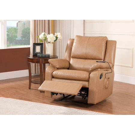 light brown faux leather electric massage recliner. Black Bedroom Furniture Sets. Home Design Ideas