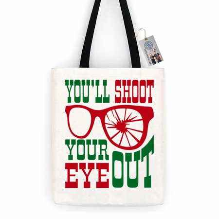 Christmas Totes (Christmas Story Shoot Your Eye Out Cotton Canvas Tote Bag Day Trip Bag Carry)
