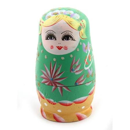 Handmade Beautiful   Russian Nesting Dolls Matryoshka Gift Set Green 5 in 1 - image 1 de 3