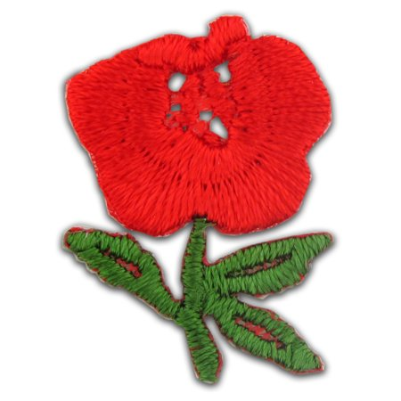 Red Rose Embroidered Applique Sticker