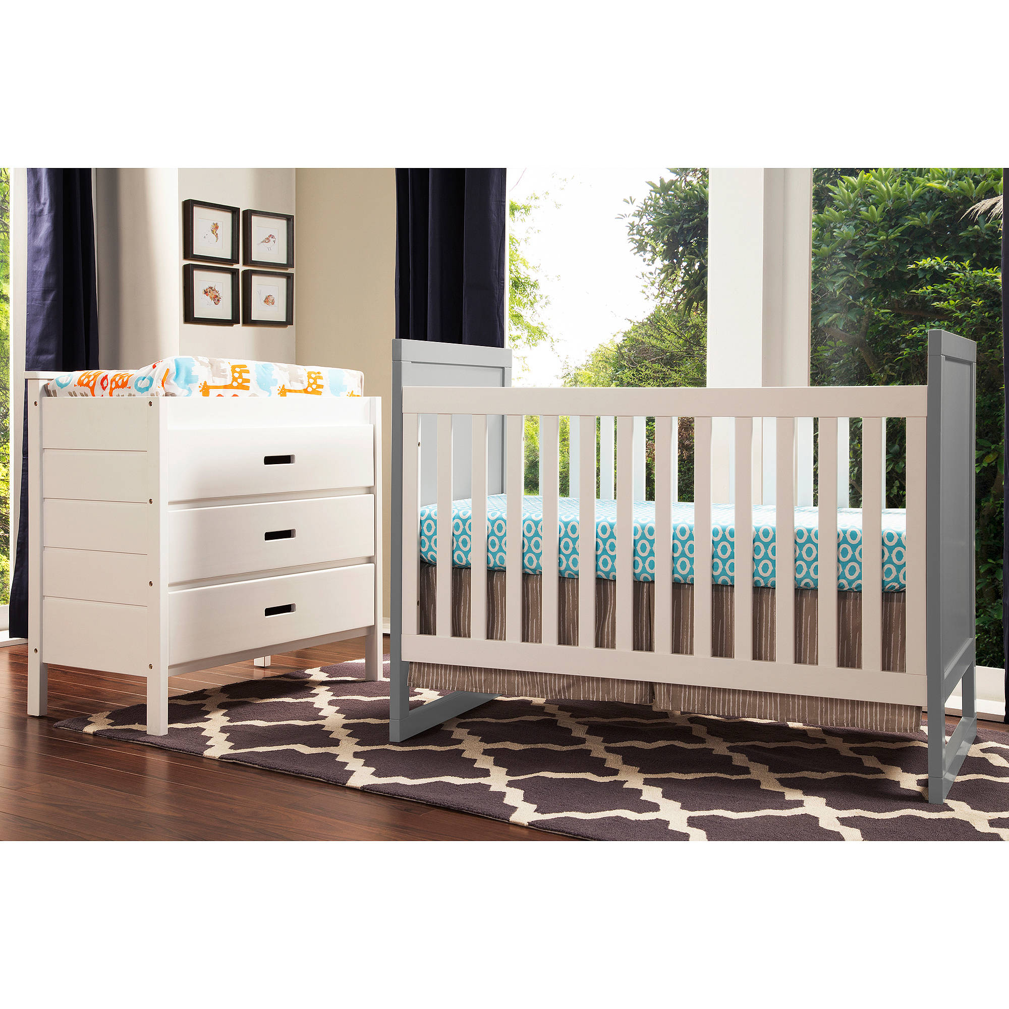 Baby Mod Modena Mod Two Tone 2 In 1 Convertible Crib Gray And White