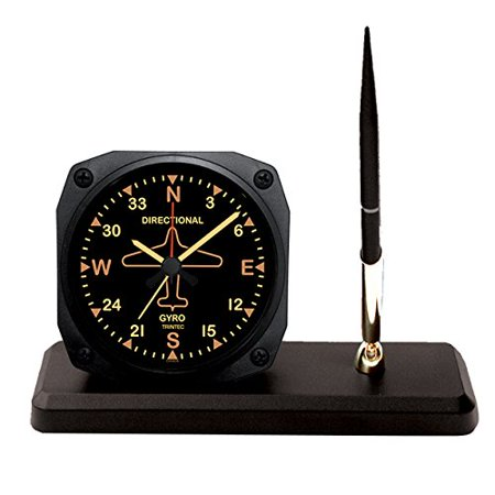 Trintec Aviation Vintage Directional Gyro Desk Pen Set with Alarm Clock Model DS62V