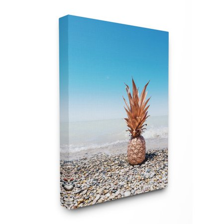 The Stupell Home Decor Collection Rose Gold Metallic Pineapple On Beach with Blue Sky Stretched Canvas Wall Art, 30 x 1.5 x 40 Black Metallic Copper Canvas