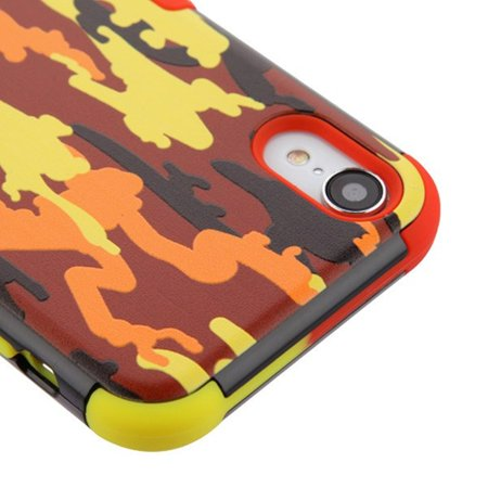 Insten Tuff Fall Camouflage Dual Layer [Shock Absorbing] Hybrid Hard Plastic/Soft TPU Rubber Case Cover For Apple iPhone XR, Red/Yellow - image 4 of 5