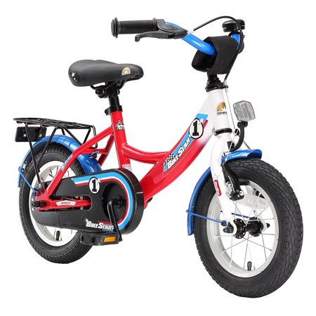 BIKESTAR Original Premium Safety Sport Kids Bike Bicycle with sidestand and Accessories for Age 3 Year Old Children | 12 Inch Modern Edition for Boys | Red Blue White Rally