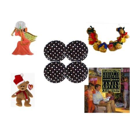 Gingerbread Teddy - Christmas Fun Gift Bundle [5 Piece] - Egyptian Pharaoh Angel Ornament - String of Gingerbread  w/ Wood Stars & Hearts 4.5' Feet  -  Tin Plate/Dish 9