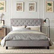 TRIBECCA HOME Sophie Tufted Full-size Upholstered Platform Bed Dark Grey Linen