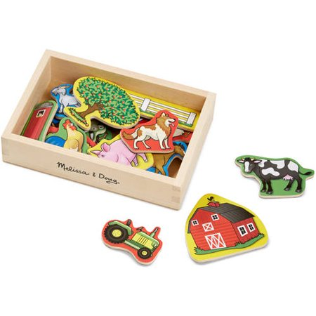 Melissa   Doug 20 Wooden Farm Magnets In A Box