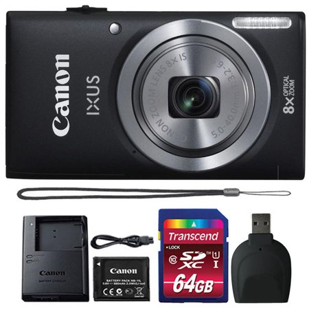 Canon Powershot Ixus 185 / ELPH 180 20MP Compact Digital Camera Black with 64GB Accessory Bundle