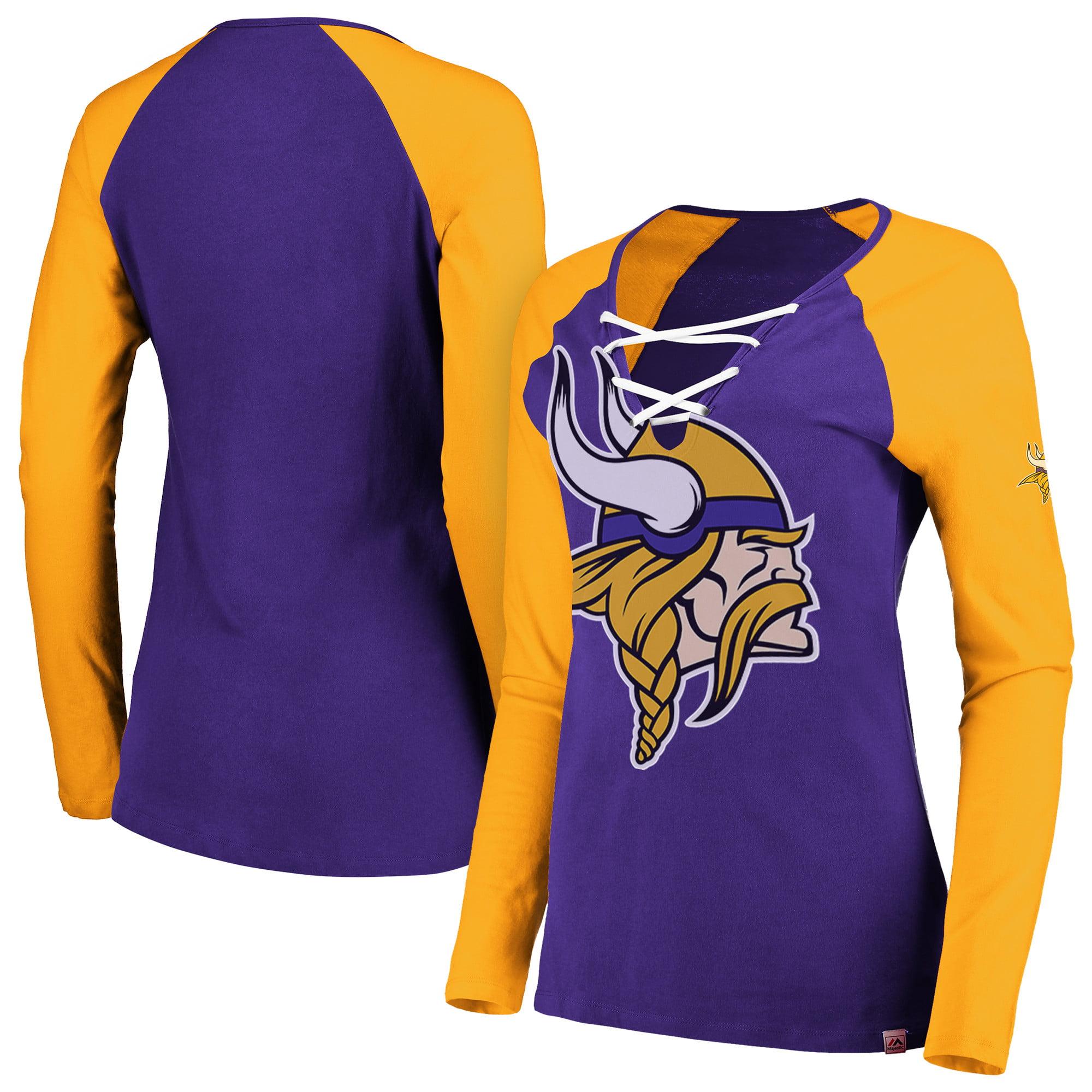 Minnesota Vikings Majestic Women's Long Sleeve Lace-Up V-Neck T-Shirt - Purple/Gold