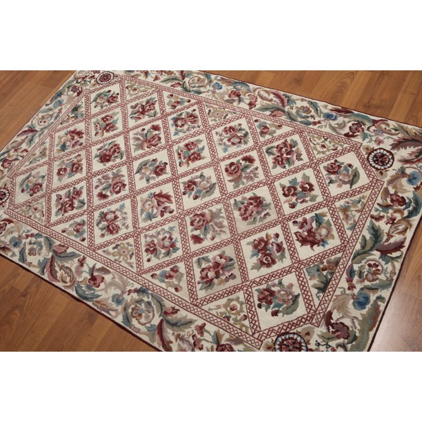 4 X6 Beige Burgundy Green Brown Multi Color Hand Woven Needlepoint Aubusson Wool Traditional Oriental Rug Walmart Com Walmart Com