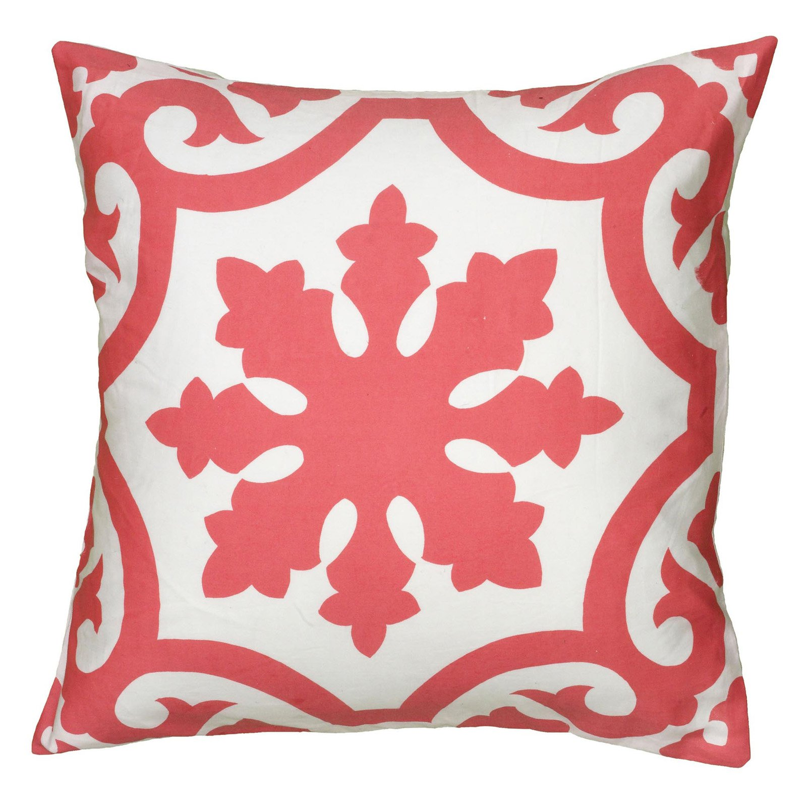 "Rizzy Home Decorative Poly Filled Throw Pillow Medallion 18""X18"" Coral"