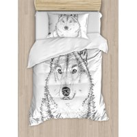 Animal Duvet Cover Set, Wildlife Woods Winter Animal Wolf Dog Sketchy Hand Drawn Image Artwork Print, Decorative Bedding Set with Pillow Shams, Black and White, by Ambesonne