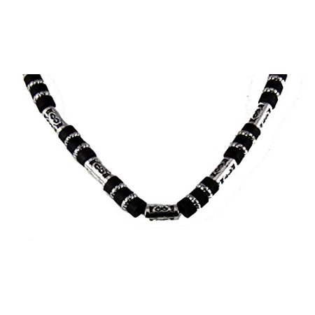 (18 Inch Silver Tone and Wood Bead Necklace Choker Puka Style Fashion)