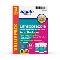 Equate Lansoprazole Delayed Release Capsules, 15 mg, treats frequent heartburn 42 Count