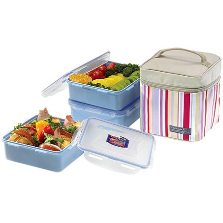 Lock lock 7 piece medium square lunch box set with leak for Decor 7 piece lunch set