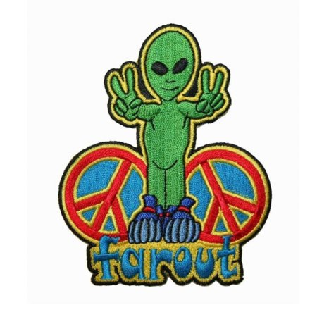 Out Embroidered Patch - Far Out Alien Peace Sign Patch UFO Hippie Groovy Embroidered Iron On Applique