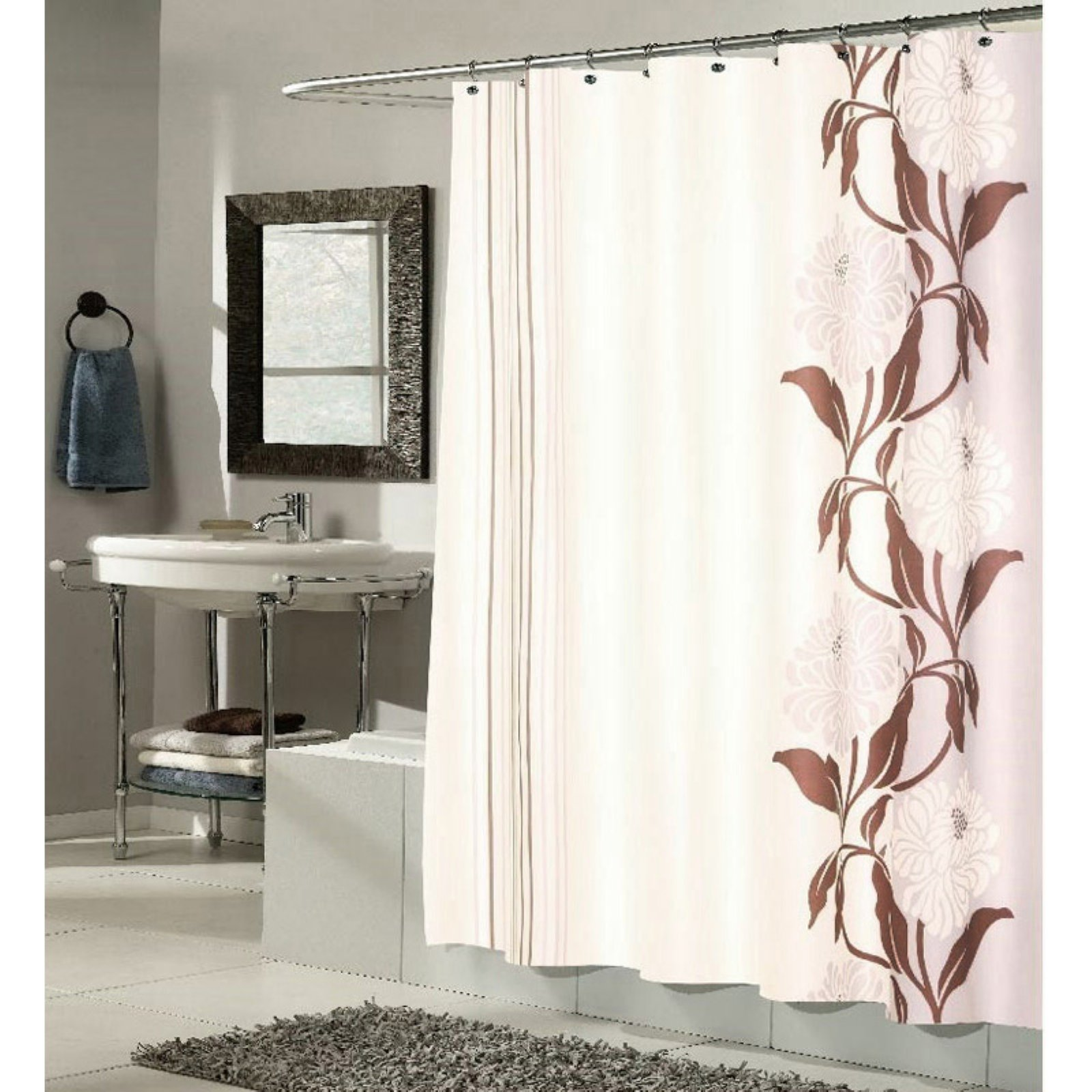 """Chelsea"" Fabric Shower Curtain in Chocolate"