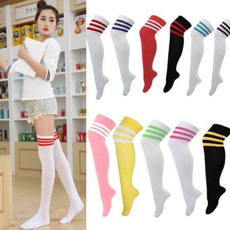 Men Womens Sport football Soccer Stripe Long Socks Over Knee High Sock - Long Light Sock