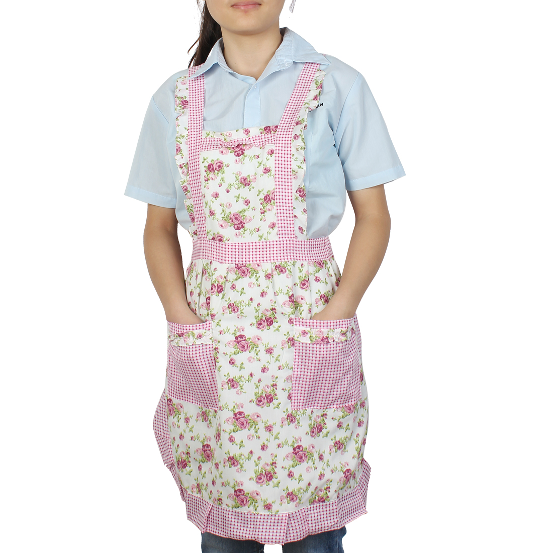 Unique Bargains Cook Pink Blooming Rose Print 2 Front Pocket Self Tie Bib Aprons 83cm Length