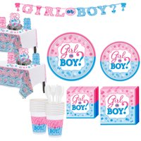 Girl or Boy Gender Reveal Party Kit for 32 Guests, with Decorations and Banner
