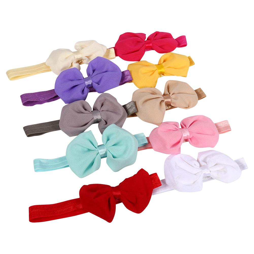 Dilwe 10Pcs Cute Baby Headband Fabric Bowknot Flower Headwear Hairband Accessories for Toddler Kids, Hair Wrap, Hair Bow Band