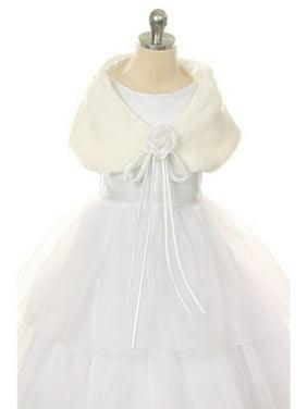 Ivory Flower Shoulder Wrap Elegant Fur Shawl Girl 6