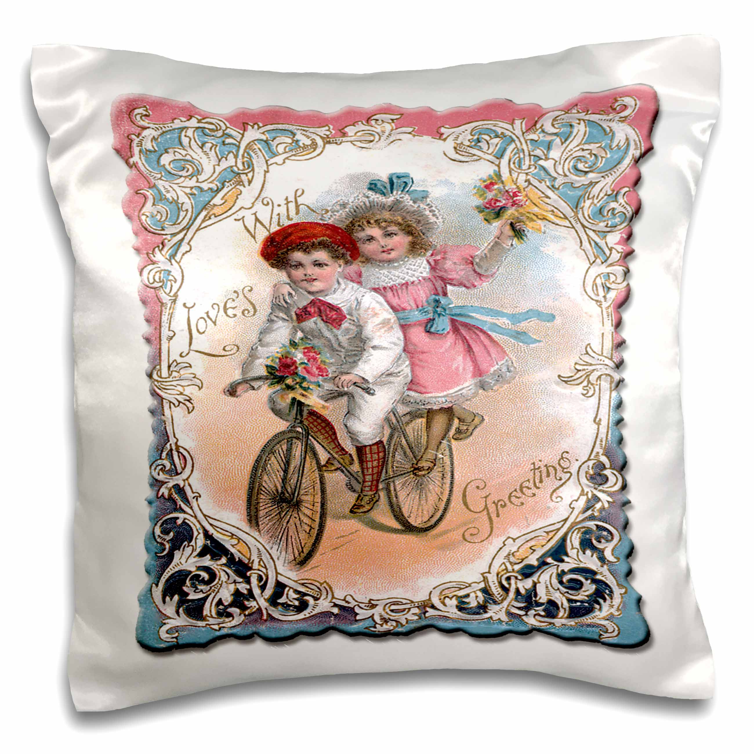 3dRose Cute Boy and Girl on a Tandem Bicycle with Ornate Victorian Frame - Pillow Case, 16 by 16-inch