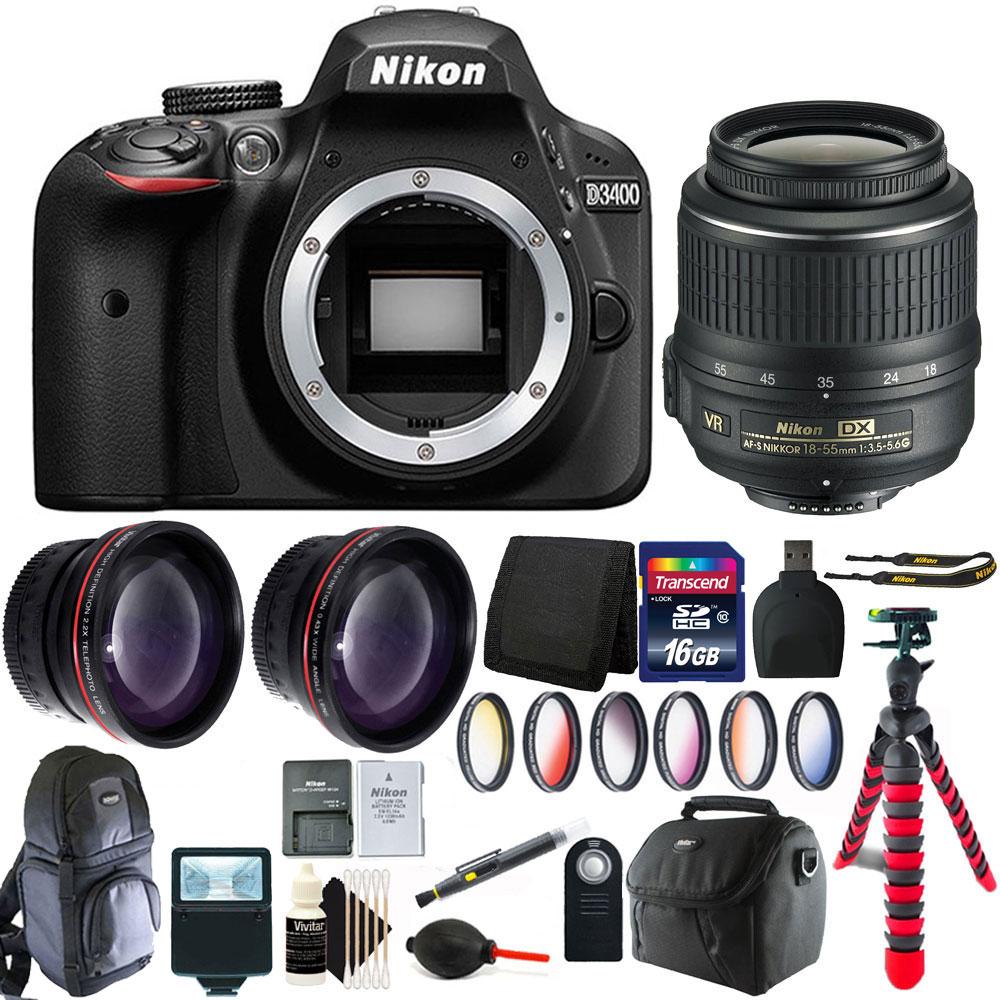 Nikon D3400 24.2 MP Digital SLR Camera + 18-55mm Lens wit...