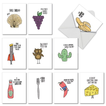 Clever Halloween Cards (M2975OCB FUN PUNS' 10 Assorted All Occasions Note Cards Featuring Fun Cartoon Images Combined with Clever Puns, with Envelopes by The Best Card)