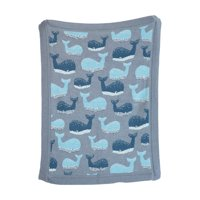 3R Studios Blue Cotton Knit Whale Blanket