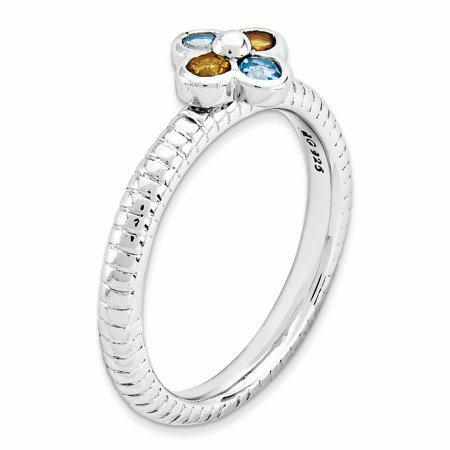 Sterling Silver Stackable Expressions Blue Topaz & Citrine Flower Ring Size 10 - image 1 of 3