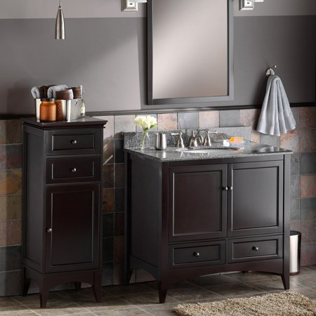 Foremost berkshire 36 in single bathroom vanity espresso burlywood granite vanity with for Espresso bathroom medicine cabinet