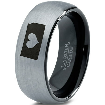 Heart Dome - Tungsten Kansas Sunflower State Heart Band Ring 8mm Men Women Comfort Fit Black Dome Brushed Gray Polished