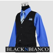 Boys Toddler Pinstripe Vest Suit Blue Shirt