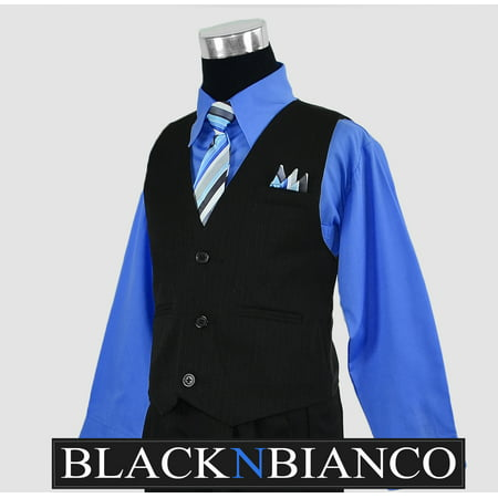 Boys Toddler Pinstripe Vest Suit Blue Shirt](Pinstripe Vest)