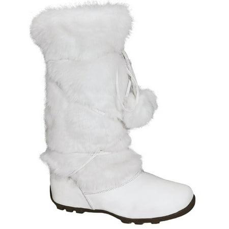 Talia-Hi Women Mukluk Faux Fur Boot Mid Calf Winter Snow White White Winter Boots