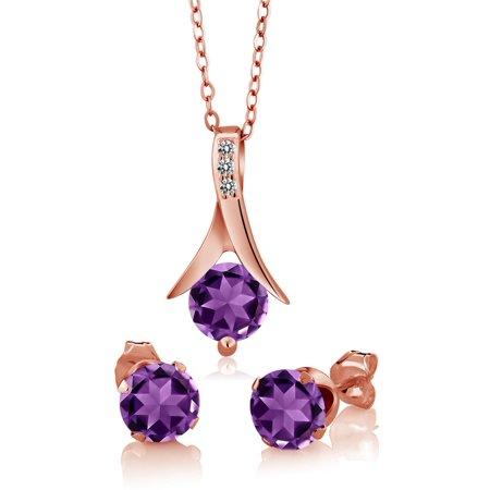 Amethyst White Gold Jewelry Set (2.15 Ct Purple Amethyst White Diamond 18K Rose Gold Plated Silver Jewelry Set)